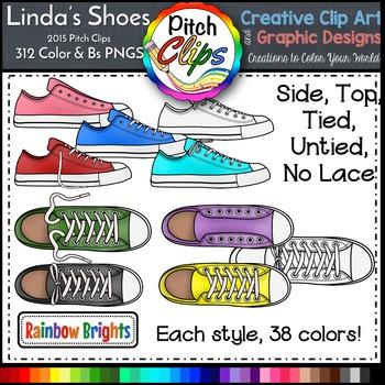 Tennis Shoe Clipart (Clip Art) - Rainbow Brights Colors