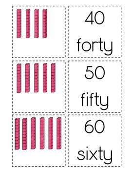 Tens Blocks Matching Cards to 100