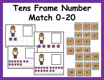 Tens Frame Number Match 0-20 Math Center - Peanut Butter a