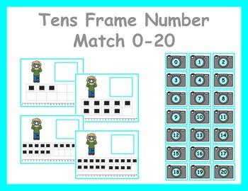 Tens Frame Number Match 0-20 Math Center - Photo/Photography