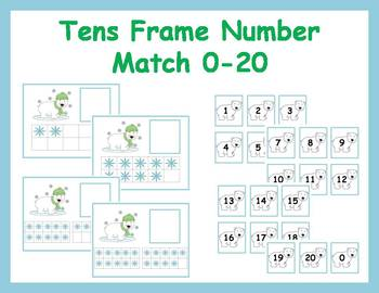 Tens Frame Number Match 0-20 Math Center - Polar Bear