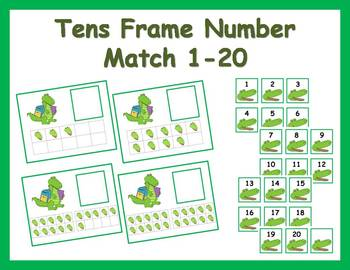 Tens Frame Number Match 1-20 Math Center - Alligator Theme