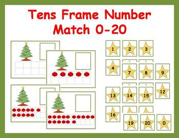 Tens Frame Number Match 0-20 Math Center - Christmas Tree
