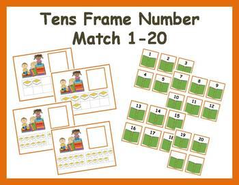 Tens Frame Number Match 1-20 Math Center - reading books
