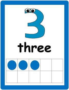 Tens Frame Number Posters 0 - 20 (blue with eyes)