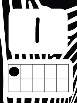 Tens Frame Number Posters 1-20 (Zebra)