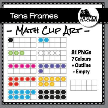 Tens Frames Clip Art - 81 PNGS - multiple colours plus emp