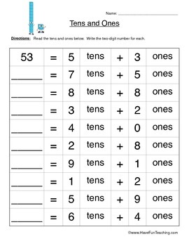 Tens and Ones Place Value Worksheet