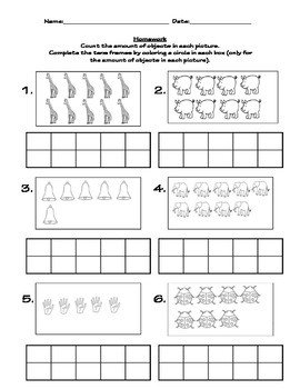 Tens frame numbers, number sense/recognition, and counting
