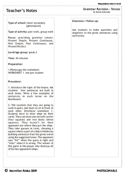 Tenses revision sheet - TEACHER'S NOTES