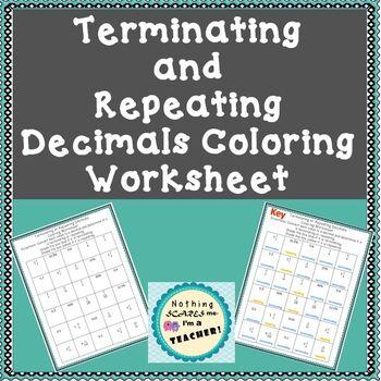 Terminating and Repeating Decimals Coloring Worksheet