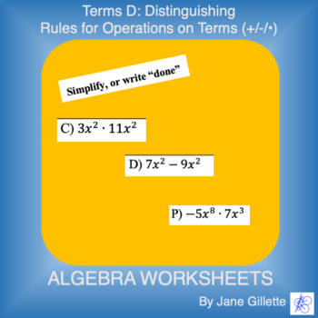 Terms D: Distinguishing rules for Operations on Terms