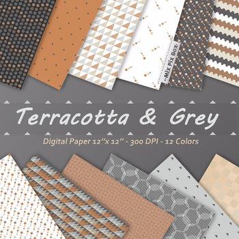 Terracotta Gray Digital Paper