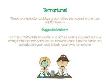 Terrarium Activity and Worksheets