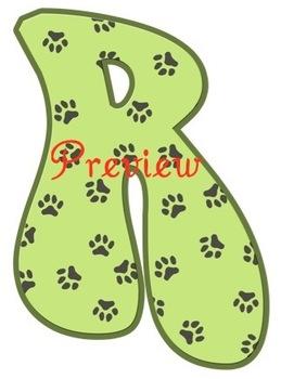 Terriers in the School Green Pawprint Alphabet Clip Art Set