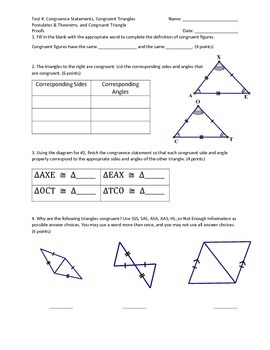Test 4: Triangle Congruence Statements, Postulates, Theore