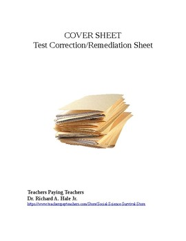 Test Correction/Remediation Sheet (Short Answer/Written)