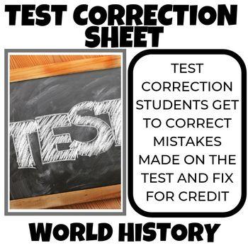 Test Correction Sheet 2 for 1