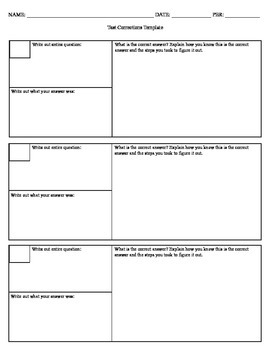 Test Corrections Template