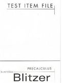 Test Item File: Precalculus Second Edition by Blitzer