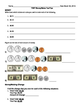 Test On Counting Money and Sales Tax/Tips
