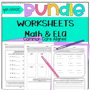 4th Grade Morning Worksheets BUNDLE Math & ELA