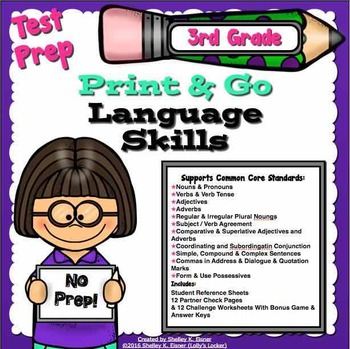 Test Prep Language Skills 3rd Grade Print and Go
