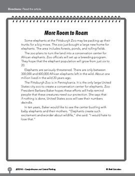 Test Prep Level 2: More Room to Roam Comprehension and Cri