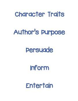Test Prep Vocabulary Terms -3rd grade Reading