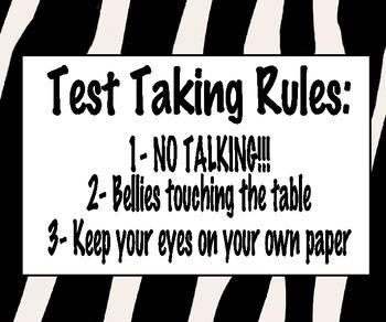 Test Taking Rules: Zebra