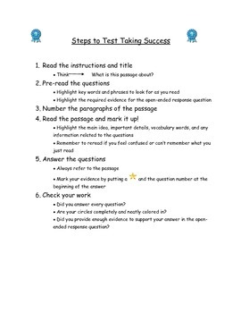 Test Taking Steps Organizer