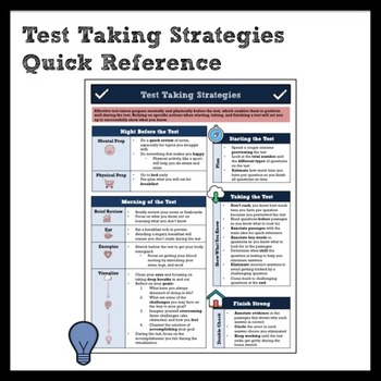 Test Taking Strategies and Preparation Quick Reference for