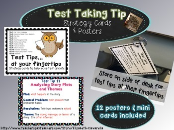 Test Taking Vocabulary and more -Posters and Strategy Card