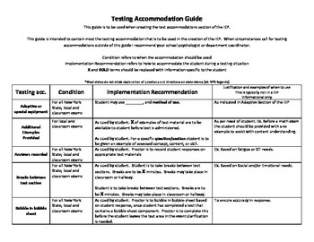 Test accomodations guide