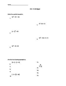 Test on Solving Quadratics, Complex Numbers, and Quadratic