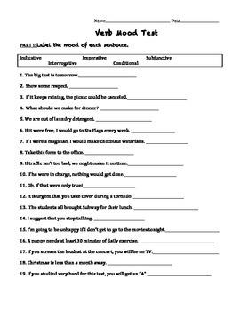 Test on Verb Moods