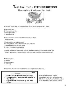Test/Exam:  US History II:  Reconstruction Unit