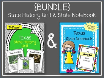 Texas {BUNDLE} State Notebook and Texas State History Unit