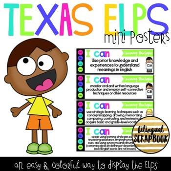 Texas ELPS I Can Mini Posters - Bright Colors