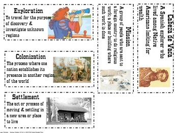 Texas Explorers and Missions vocab word wall cards