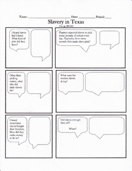 Texas History, Slavery in Texas History Cartoon Notes