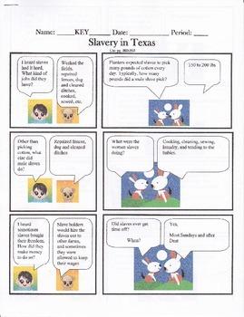 Texas History, Slavery in Texas History Cartoon Notes Answer Key