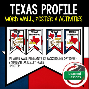 Texas History Word Wall, State Profile, Activity Pages