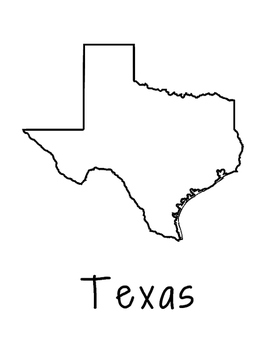 Texas Map Coloring Page Poster - Lots of Room for Note-Tak