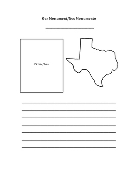 Texas Monument Summary Page (Bilingual, Spanish/English)