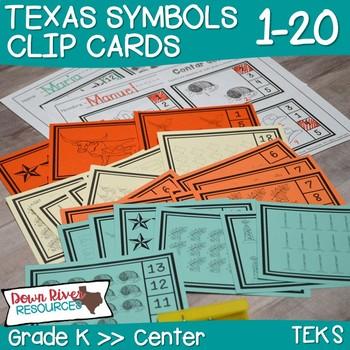 Texas Our Texas Math Center: Kindergarten Clip Cards 1-20