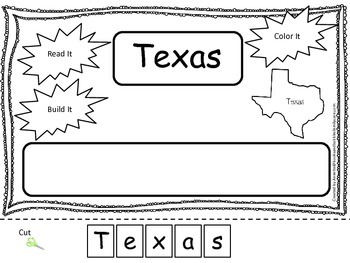 Texas Read it, Build it, Color it Learn the States prescho