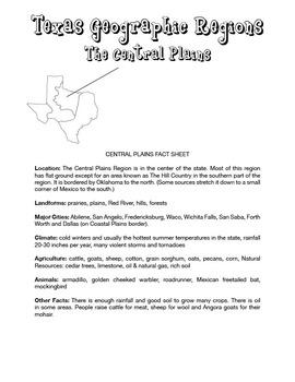 Texas Regions (Fact Sheets, Test & Answer Key)