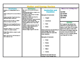Texas Science STAAR Matter and Energy Review