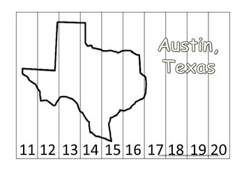 Texas State Capitol Number Sequence Puzzle 11-20.  Geograp